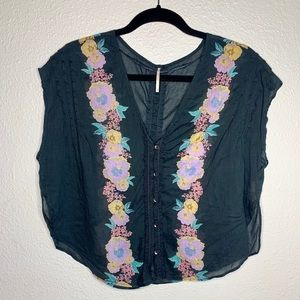 Free people floral butterfly top